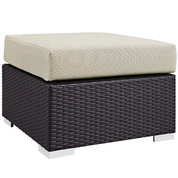 Convene Outdoor Patio Fabric Square Ottoman (Espresso Beige)