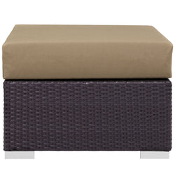Convene Outdoor Patio Fabric Square Ottoman (Espresso Mocha)