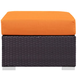 Convene Outdoor Patio Fabric Square Ottoman (Espresso Orange)