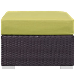 Convene Outdoor Patio Fabric Square Ottoman (Espresso Peridot)