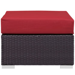 Convene Outdoor Patio Fabric Square Ottoman (Espresso Red)