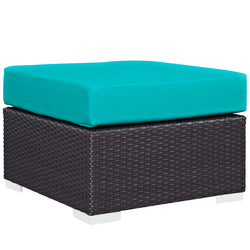 Convene Outdoor Patio Fabric Square Ottoman (Espresso Turquoise)