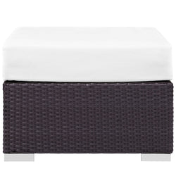 Convene Outdoor Patio Fabric Square Ottoman (Espresso White)