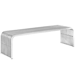 "Pipe 60"" Stainless Steel Bench (Silver)"