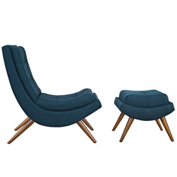 Ramp Upholstered Fabric Lounge Chair Set (Azure)