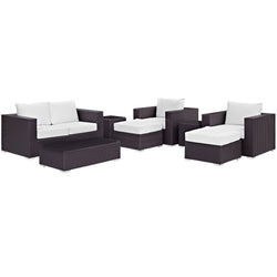 Convene 8 Piece Outdoor Patio Sofa Set (Espresso White)