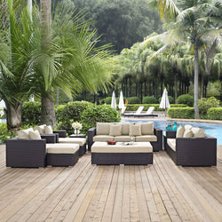 Convene 9 Piece Outdoor Patio Sofa Set (Espresso Beige)