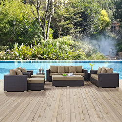 Convene 9 Piece Outdoor Patio Sofa Set (Espresso Mocha)