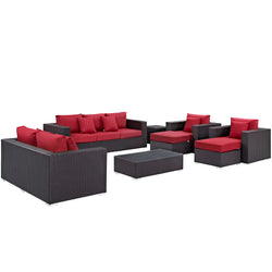 Convene 9 Piece Outdoor Patio Sofa Set (Espresso Red)