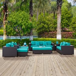 Convene 9 Piece Outdoor Patio Sofa Set (Espresso Turquoise)