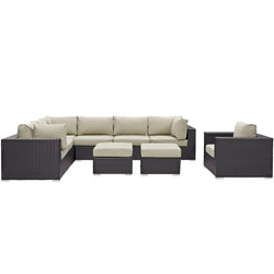Convene 9 Piece Outdoor Patio Sectional Set (Espresso Beige)