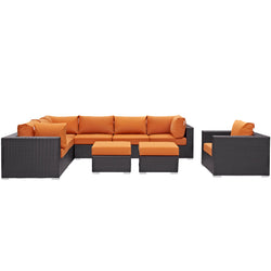 Convene 9 Piece Outdoor Patio Sectional Set (Espresso Orange)