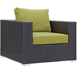 Convene 9 Piece Outdoor Patio Sectional Set (Espresso Peridot)