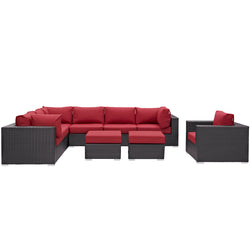 Convene 9 Piece Outdoor Patio Sectional Set (Espresso Red)