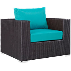 Convene 9 Piece Outdoor Patio Sectional Set (Espresso Turquoise)