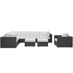 Convene 9 Piece Outdoor Patio Sectional Set (Espresso White)
