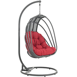 Whisk Outdoor Patio  Swing Chair With Stand (Red)