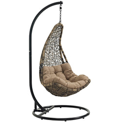 Abate Outdoor Patio Swing Chair With Stand (Black Mocha)