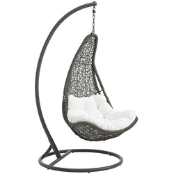 Abate Outdoor Patio Swing Chair With Stand (Gray White)