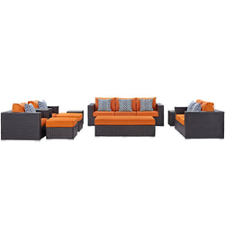 Convene 9 Piece Outdoor Patio Sofa Set (Espresso Orange)