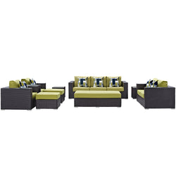 Convene 9 Piece Outdoor Patio Sofa Set (Espresso Peridot)
