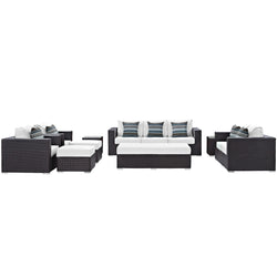 Convene 9 Piece Outdoor Patio Sofa Set (Espresso White)