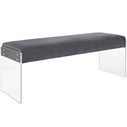 Roam Velvet Bench (Gray)