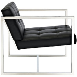 Hover Upholstered Vinyl Lounge Chair (Black)