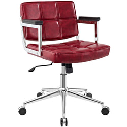 Portray Mid Back Upholstered Vinyl Office Chair (Red)