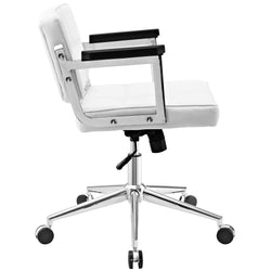 Portray Mid Back Upholstered Vinyl Office Chair (White)