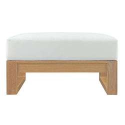 Upland Outdoor Patio Teak Ottoman (Natural White)