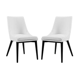 Viscount Dining Side Chair Vinyl Set of 2 (White)