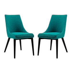 Viscount Dining Side Chair Fabric Set of 2 (Teal)