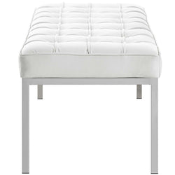 Loft Leather Bench (White)