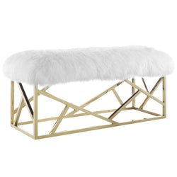 Intersperse Sheepskin Bench (Gold White)