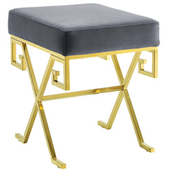 Twist Velvet Bench (Gold Gray)