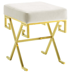 Twist Velvet Bench (Gold Ivory)