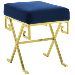 Twist Velvet Bench (Gold Navy)