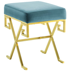Twist Velvet Bench (Sea Blue)
