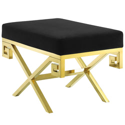 Rove Velvet Bench (Gold Black)