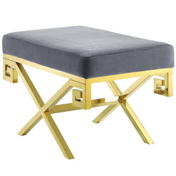 Rove Velvet Bench (Gold Gray)