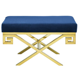 Rove Velvet Bench (Gold Navy)