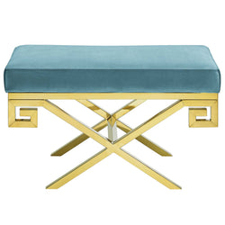 Rove Velvet Bench (Sea Blue)