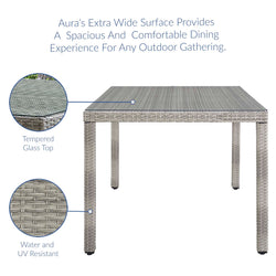 "Aura 68"" Wicker Rattan Dining Table (Gray)"