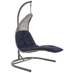 Landscape Hanging Chaise Lounge Outdoor Patio Swing Chair (Light Gray Navy)