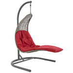 Landscape Hanging Chaise Lounge Outdoor Patio Swing Chair (Light Gray Red)