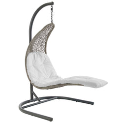 Landscape Hanging Chaise Lounge Outdoor Patio Swing Chair (Light Gray White)