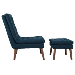 Modify Upholstered Lounge Chair and Ottoman (Azure)
