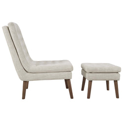 Modify Upholstered Lounge Chair and Ottoman (Beige)