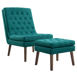Modify Upholstered Lounge Chair and Ottoman (Teal)